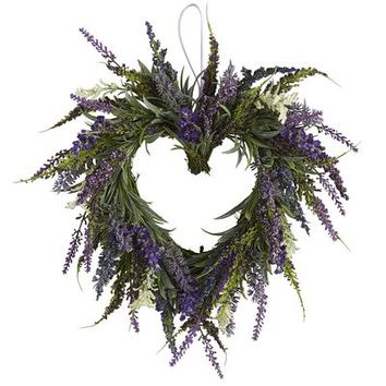 Faux Lavender Mini Heart Wreath