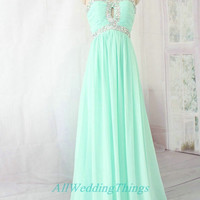 Long green mint prom dress strapless