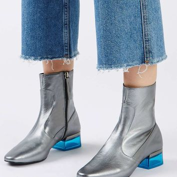 AUBERGINE Perspex Heeled Ankle Boots | Topshop