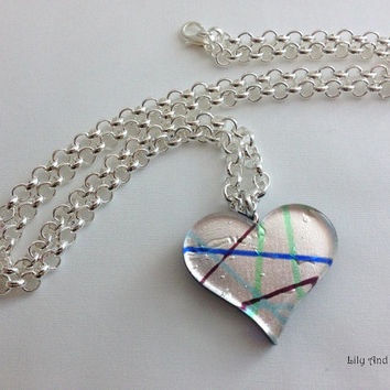 Murano Glass Pendant Necklace – hand blown flat sterling silver foil heart pendant and a long silver plated chain. simple, artisan pendant