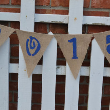 2015 Graduation Burlap Banner in school colors class of 2015 decor graduation present graduation decor