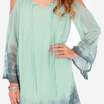 Green Spaghetti Strap Printed Long Sleeve Chiffon Dress