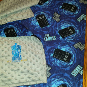 DOCTOR WHO MiNKY & TARDiS FLeece FABRiC  CuSToM Baby BLANKeT READY To SHiP! Bright Vibrant CoLorS So SNUGGLy SofT Whovian Baby Shower Gift!