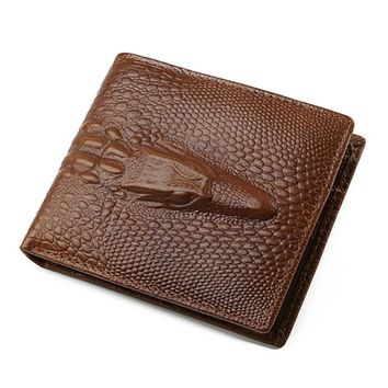 JINBAOLAI  Mini Wallet Men Business Cow Leather Credit/ID Card Holder Billfold Mens Purse