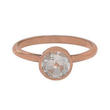 Round Rose Gold Bezel Ring