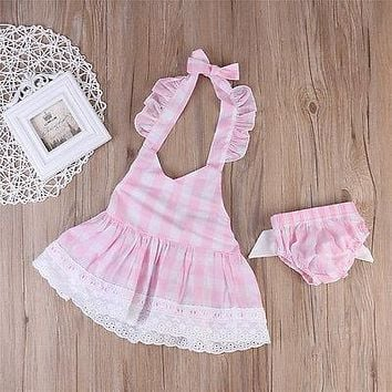 Summer 2017 Newborn Baby Girl Pink Lace Crop Top +Bowknot Bottom Shorts 2PCS Outfit Sunsuit Toddler Kids Clothing Set