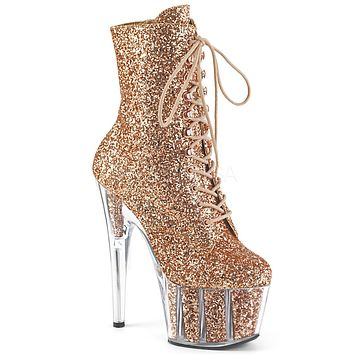 "Adore 1020G Glitter Ankle Boot 7"" Platform High Heel - Rose Gold - Pre-Order"