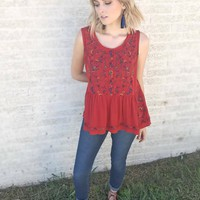More Variety Floral Print Embroidered Top: Rust