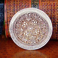 Hand Carved Wood Stamp: Large Indian Flower Circle Stamp, Round Wooden India Ceramic Tile Pottery Stamp