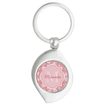Girly Monogram Cute Pink Daisy Flowers With Name Silver-Colored Swirl Metal Keychain