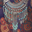 To The End Of Time Antique Silver & Turquoise Statement Bib Necklace