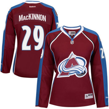 Women's Colorado Avalanche Nathan MacKinnon Reebok Burgundy Premier Player Home Jersey