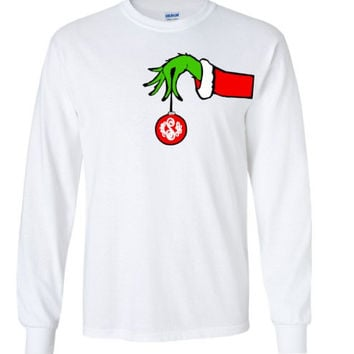 The Grinch Monogrammed Shirt Grinch Long Sleeve Shirt Monogram Christmas Ornament Shirt Grinch Hand Shirt