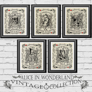SPECIAL OFFER, Alice in Wonderland Prints, 5 book pages, Mixed-media print, Vintage Alice, Wedding themed, Home decor, mad hatter, queen
