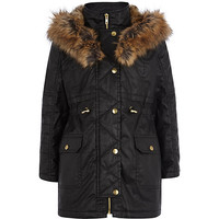 River Island Girls black waxed fur parka coat