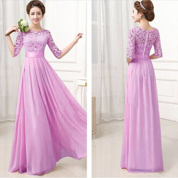 Lavander Crochet Embroidered Half Sleeve A-Line Pleated Maxi Dress