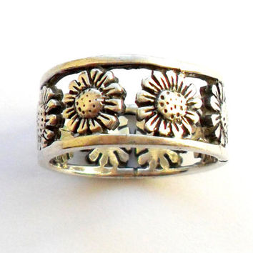 Sterling Daisy Band Ring Vintage Wide Flower Floral Silver 925 Size 9 Bold Cast Chunky Daisy Chain Boho