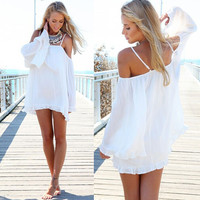 Off-Shoulder Bell Sleeve Ruffled Bottom A-Line Mini Dress