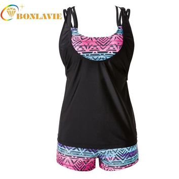 3pcs Tankini Swimsuits Women Strappy Padded Bikini Set Shorts Plus Size Swimwear Bathing Suit for Female