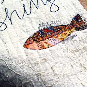 Gone Fishing textile sign by BozenaWojtaszek on Etsy