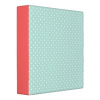 Mint & Coral Cute Tiny Polka Dots Vinyl Binder