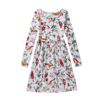 2017 Spring Long Sleeve Girls Dress Clothes Birds Butterfly Printed Flower Teenager Dresses Animal Pattern Monsoon Kids Costume