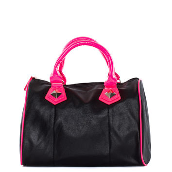 All About You Purse - Black/ Neon Pink