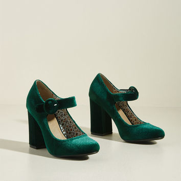 Fame of Reference Velvet Block Heel