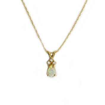 14kt Gold Diamond and Opal Pear Droplet Pendant