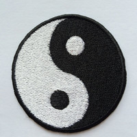 Iron On/Sew on Patch - Tai Chi / Yin Yang Symbol Embroidered