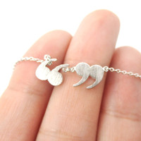 Quotation Marks Inverted Commas Shaped Charm Necklace in Silver | DOTOLY