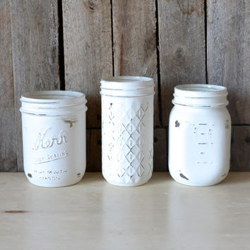Hand Painted Vintage White Mason Jars - Set of 3
