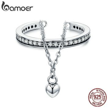 BAMOER High Quality 100% 925 Sterling Silver Stackable Clear CZ Heart Chain Double Layer Ring for Women Wedding Jewelry SCR291