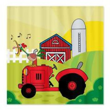 Red Tractor on Farm Shower Curtain> Shower Curtains> We Tees You