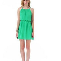Casual Green Halter Neck Drawstring Waist Mini Dress