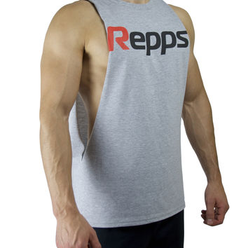 Repps Cut off Muscle Tank Top Shirt for Men - Gray