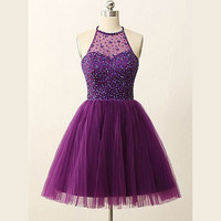 Halter Short Purple Homecoming Dresses
