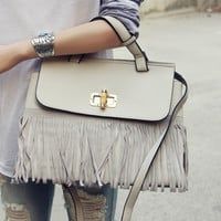 Honey Hush Fringe Tote in Cream