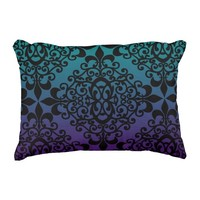 Black Damask Pattern Purple And Teal Gradient Accent Pillow
