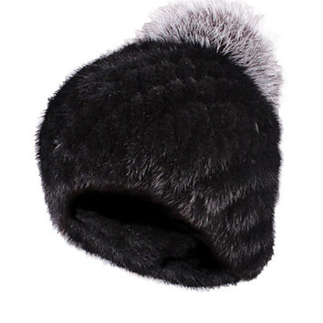 Mink Limited Edition Full Fur Hat Black Silver Pom Pom