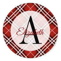 Red and Black Plaid Monogrammed Classic Round Sticker