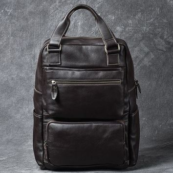 School Backpack trendy High Quality Men Backpack Genuine Leather Vintage Cowhide Daypack Travel Casual School Book Bags Brand Male Laptop Bags Rucksack AT_54_4