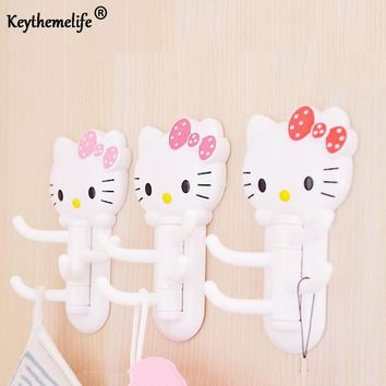Keythemelife Hello kitty Multifunctional rotatable Hook Stick hook Storage Rack Towel Holder Bathing Accessories DA