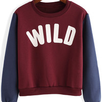 Red and Blue WILD Print Cropped Sweatshirt