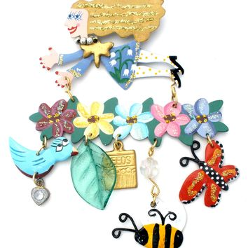 Fanciful Flight Gardener's Brooch Pin by Karen Rossi