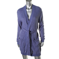 Free Press Womens Open Front Ribbed Trim Short Robe