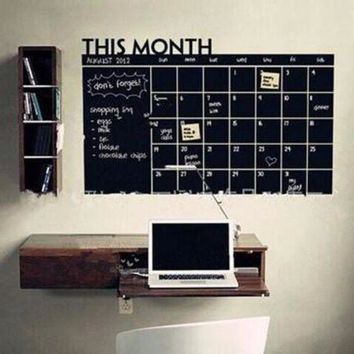 MDIGON1O Day First Home & Office Decor Chalk Board Blackboard Monthly Calendar Vinyl Wall Sticker (Size: 100cm*60cm) [8070934023]