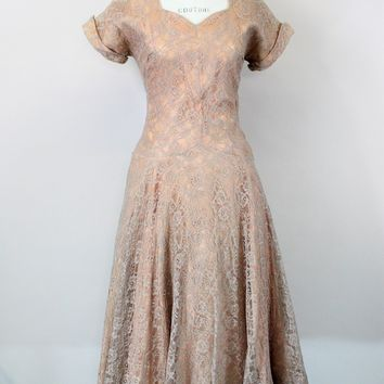 Vintage 1950s Blush Illusion Lace Fit And Flare Dress