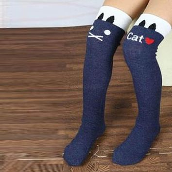 New Arrival Stirp Lovely Fashion Baby Children Kids Girl's Letter Cat Black Leg Warmers Stockings 7 Colors