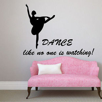 Wall Decals Ballet Studio Dance Quote Ballerina Viyl Sticker Girl Room Decor KG7